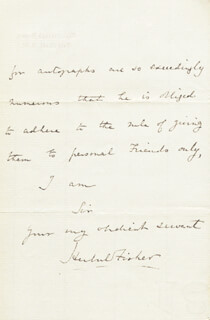 HERBERT WILLIAM FISHER - AUTOGRAPH LETTER SIGNED 12/27/1869