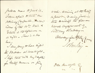 JOHN JAY II - AUTOGRAPH LETTER SIGNED 03/15/1862