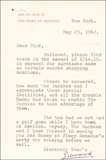 Autographs: KING EDWARD VIII - TYPED LETTER SIGNED 05/25/1962