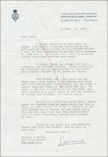 KING EDWARD VIII - TYPED LETTER SIGNED 10/12/1962