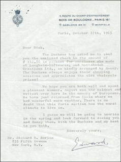 KING EDWARD VIII - TYPED LETTER SIGNED 10/17/1963