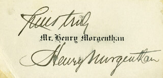 HENRY MORGENTHAU SR. - BUSINESS CARD SIGNED