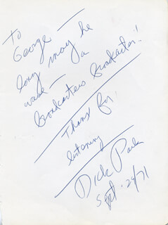 DICK PACK - AUTOGRAPH NOTE SIGNED 09/29/1971