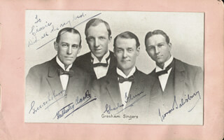 THE GRESHAM SINGERS - INSCRIBED PICTURE POSTCARD SIGNED CO-SIGNED BY: GREEVES JOHNSON, HATTESLEY CLARKE, CHARLES FLIMM, LEONARD SALISBURY