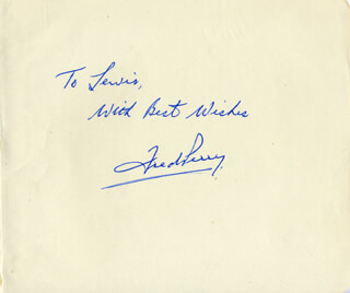 FRED PERRY - AUTOGRAPH NOTE SIGNED