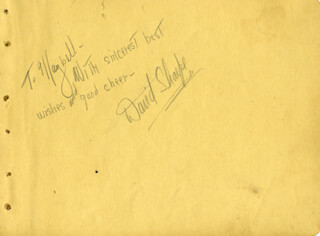 DAVID SHARPE - AUTOGRAPH NOTE SIGNED