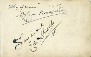 ELLA SHIELDS - AUTOGRAPH NOTE SIGNED 03/11/1914 CO-SIGNED BY: W. LOUIS BRADFIELD