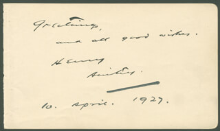 Autographs: HENRY AINLEY - AUTOGRAPH NOTE SIGNED 04/10/1927