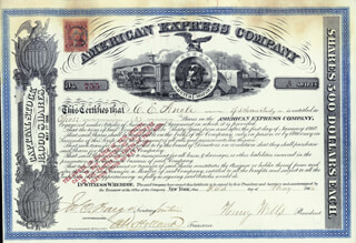 Autographs: THE AMERICAN EXPRESS COMPANY - STOCK CERTIFICATE SIGNED 05/01/1866 CO-SIGNED BY: HENRY WELLS, ALEXANDER HOLLAND, JAMES C. FARGO