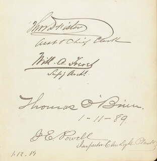 THOMAS D. FISTER - AUTOGRAPH CIRCA 1889 CO-SIGNED BY: WILLIAM A. FRERET, THOMAS O'BRIEN, J. E. POWELL