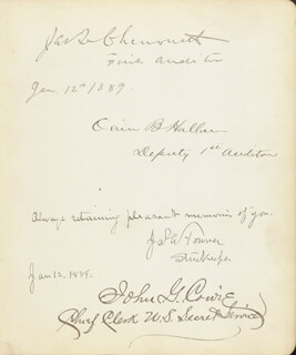 J. Q. CHENOWETH - AUTOGRAPH 01/12/1889 CO-SIGNED BY: ORRIN B. HALLAM, JAMES A. TOWNER, JOHN G. COWIE