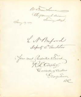 W. F. MACLENNAN - AUTOGRAPH 01/19/1889 CO-SIGNED BY: L. N. BUFORD, R. S. CROPLEY