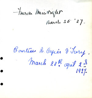 FONROSE WAINWRIGHT CONDICT - AUTOGRAPH 03/26/1927 CO-SIGNED BY: (ELIZABETH HERREBOUDT) COUNTESS RAOUL OGIER D'IVRY