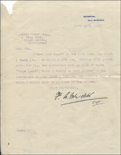 CAPTAIN FREDERICK ANNESLEY MICHAEL F.A.M. WEBSTER - TYPED LETTER SIGNED 04/30/1925