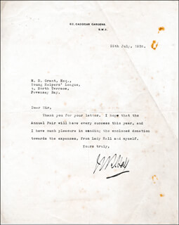 ADMIRAL WILLIAM REGINALD HALL - TYPED LETTER SIGNED 07/25/1928