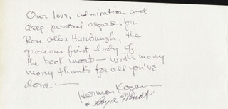HERMAN KOGAN - AUTOGRAPH NOTE SIGNED CO-SIGNED BY: LLOYD WENDT