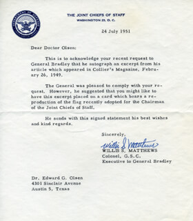 MAJOR GENERAL WILLIS S. MATTHEWS - TYPED LETTER SIGNED 07/24/1951