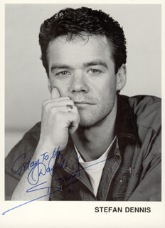 STEFAN DENNIS - INSCRIBED PRINTED PHOTOGRAPH SIGNED IN INK 1991