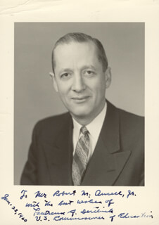 LAWRENCE G. DERTHICK - AUTOGRAPHED INSCRIBED PHOTOGRAPH 01/22/1960