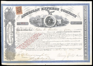 Autographs: THE AMERICAN EXPRESS COMPANY - STOCK CERTIFICATE SIGNED 05/28/1866 CO-SIGNED BY: HENRY WELLS, ALEXANDER HOLLAND, JAMES C. FARGO