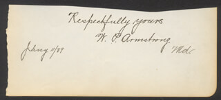 W. P. ARMSTRONG - AUTOGRAPH SENTIMENT SIGNED 01/11/1889