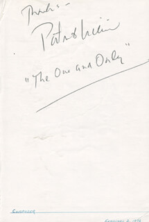PATRICK WILLIAMS - AUTOGRAPH NOTE SIGNED CIRCA 1978