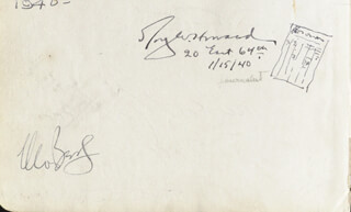 ROY W. HOWARD - AUTOGRAPH 11/15/1940 CO-SIGNED BY: CLEO BERG