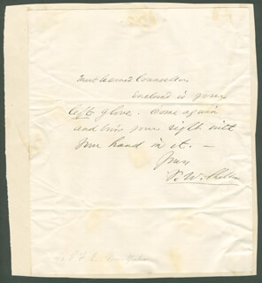 FREDERICK WILLIAM SHELTON - AUTOGRAPH LETTER SIGNED