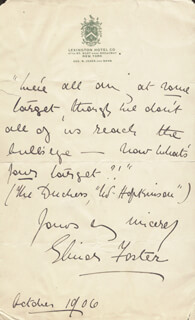 ELINOR FOSTER - AUTOGRAPH QUOTATION SIGNED 10/1906