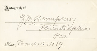 Autographs: Z. M. HUMPHREY - PRINTED CARD SIGNED IN INK 03/15/1869