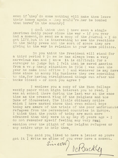 V. C. (VIVIAN CHARLES) BUCKLEY - TYPED LETTER SIGNED 04/04