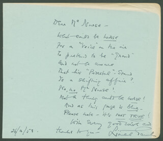 LIONEL GAMLIN - INSCRIBED POEM SIGNED 03/26/1953