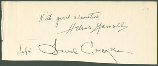 VICE ADMIRAL RANDALL JACOBS - AUTOGRAPH NOTE SIGNED CO-SIGNED BY: LAIRD CREGAR, HAROLD CROOKES, LOIS RANSOM, EMILY V. JACOBS, MARY JANE JACOBS, HELENE GARNELL