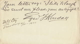 EZRA F. KENDALL - AUTOGRAPH NOTE SIGNED 04/10/1900