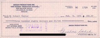 ELISABETH BAKSHI - AUTOGRAPHED SIGNED CHECK 02/19/1976 CO-SIGNED BY: JOAN TAYLOR, ROBERT BOB TAYLOR