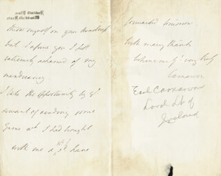 Autographs: HENRY (4TH EARL OF CARNARVON) HERBERT - AUTOGRAPH LETTER SIGNED