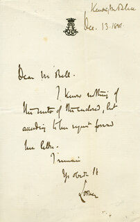 Autographs: JOHN (9TH DUKE OF ARGYLL) CAMPBELL - AUTOGRAPH LETTER SIGNED 12/13/1887