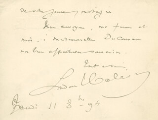 LUDOVIC HALEVY - AUTOGRAPH LETTER SIGNED 11/08/1894