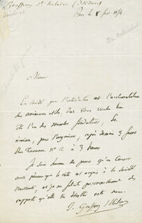 ISIDORE GEOFFROY SAINT-HILAIRE - AUTOGRAPH LETTER SIGNED 04/18