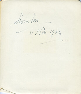 PHILIP 1ST EARL OF SWINTON CUNLIFFE-LISTER - AUTOGRAPH 11/11/1952