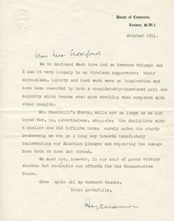 Autographs: SIR HENRY CHIPS CHANNON - TYPED LETTER SIGNED 10/1951