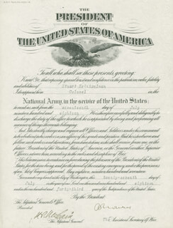 Autographs: MAJOR GENERAL HENRY P. MCCAIN - MILITARY APPOINTMENT SIGNED 07/27/1918 CO-SIGNED BY: BENEDICT CROWELL
