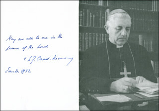 Autographs: CARDINAL LEO JOZEF SUENENS - AUTOGRAPH QUOTATION ON PHOTOGRAPH SIGNED 4/1972