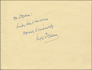 Autographs: W.E. (WILLIAM EARL) JOHNS - AUTOGRAPH NOTE SIGNED