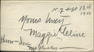 MAGGIE YELINE - AUTOGRAPH SENTIMENT SIGNED