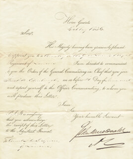 Autographs: LT. GENERAL JOHN MacDONALD - DOCUMENT SIGNED 05/04/1836
