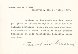 Autographs: FRANCISZEK CARDINAL MACHARSKI - TYPED NOTE SIGNED 07/26/1979
