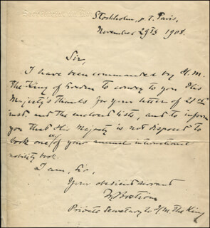 Autographs: WOLLMAR BOSTROM - AUTOGRAPH LETTER SIGNED 11/29/1908