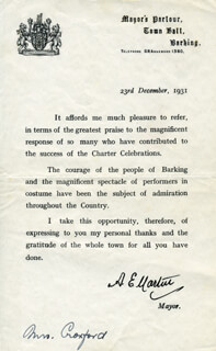 ALBERT EDWARD MARTIN - TYPED LETTER SIGNED 12/23/1931