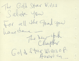 Autographs: GOLD STAR WIVES - AUTOGRAPH NOTE SIGNED 12/06/1965